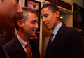 Senator Barack Obama greets Representative Rahm Emanuel at the Democratic National Convention 2004; Photo: Tom Williams