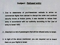 Israel Instructs Air Lines To Cancel Reservation Of Passengers Said To Be Related To 'Welcome To Palestine'